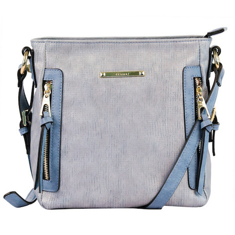Gionni Demin Blue Vertical Zip Accessory Bag