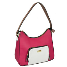 Gionni Fushia & White Panel Bag
