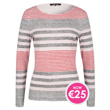 Olsen LONG-SLEEVED TOP STRIPED PATTERN - DUSTY ROSE - N0W €25