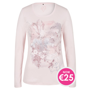 Olsen LONG-SLEEVED T-SHIRT CRANE MOTIF - DUSTY ROSE - NOW €25