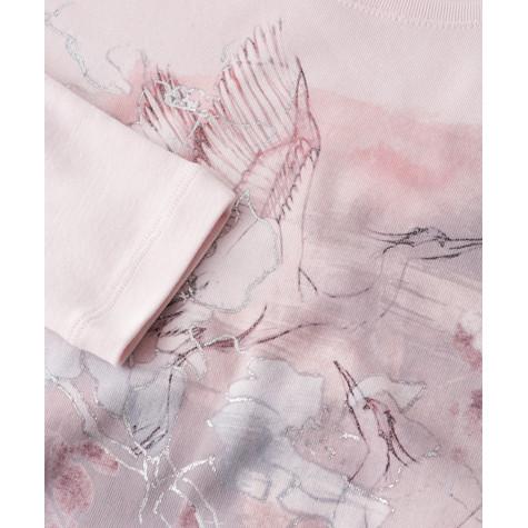 Olsen LONG-SLEEVED T-SHIRT CRANE MOTIF - DUSTY ROSE