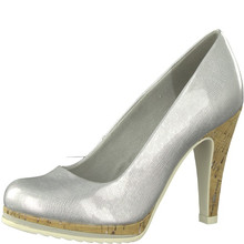 Marco Tozzi Light Grey High Heel Court Shoe