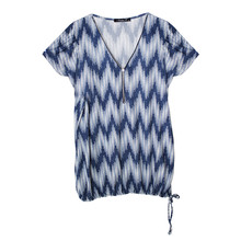 SophieB Blue & Cyan Pattern Zip V-Neck Top