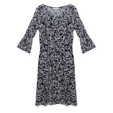 Zapara Navy Lace 3/4 Sleeve Floral Pattern Dress