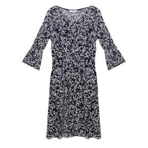 Zapara Navy Lace 3/4 Sleeve Floral Pattern Dress