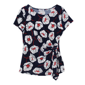 Zapara Red Flower Print Front Wrap Top