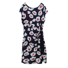 Zapara Red Flower Print Front Wrap Dress