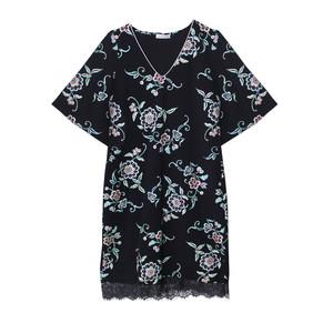 Zapara Dark Navy V-Neck Floral Pattern Long Dress