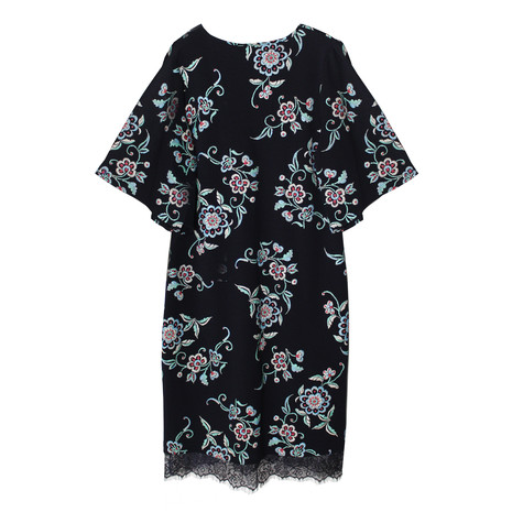 Zapara Dark Navy V-Neck Floral Pattern Long Dress