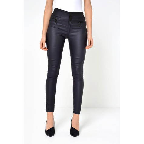 Independent C Black Coated Side Zip Detail Jeans
