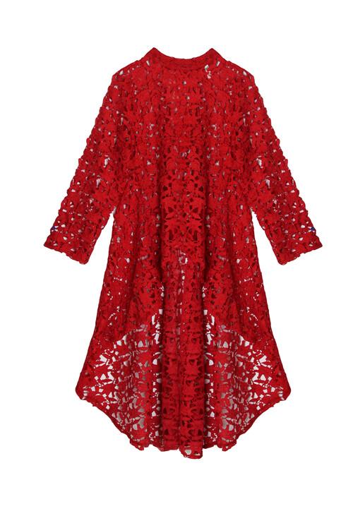 S RED LACE HIGH LOW TOP | Pamela Scott