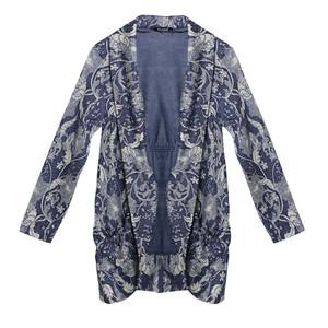 Twist Open Denim Floral Print Knit
