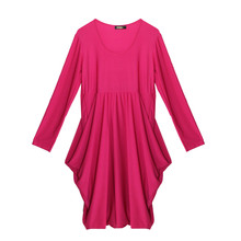 Flam Mode Pink Round Neck Drape Dress