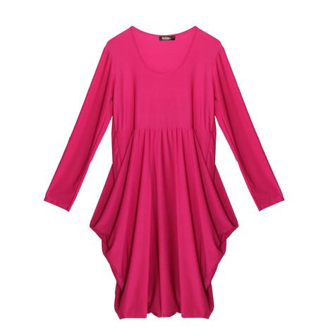 Flam Mode Pink Round Neck Drape Dress