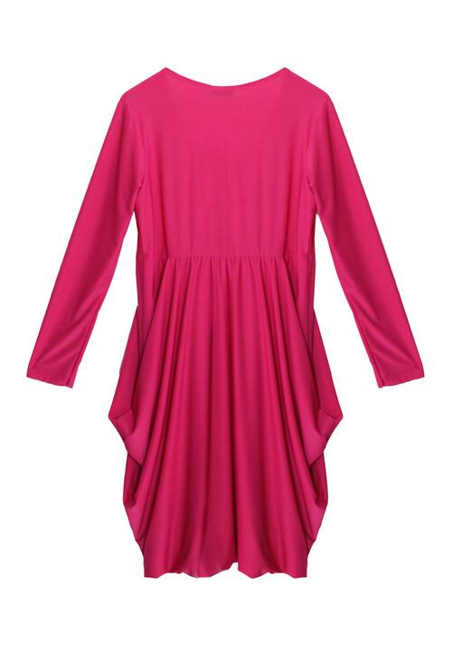 Pamela Scott Pink Round Neck Drape Dress