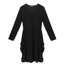 Flam Mode Black Round Neck Drape Dress