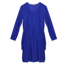 Flam Mode Royal Blue Round Neck Drape Dress