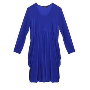 Flam Mode Royal Blue Round Neck Drape Dress