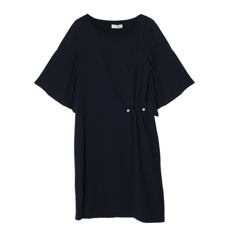 Zapara Navy Pear Detail Bell Sleeve Dress
