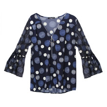 SophieB Navy Circular Print Zip Detail Top