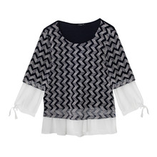 SophieB Navy Tissoni White Zig Zag Print 2 in 1 Top