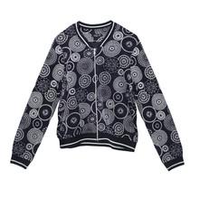 SophieB Navy Circular Print Zip Bomber Style Jacket