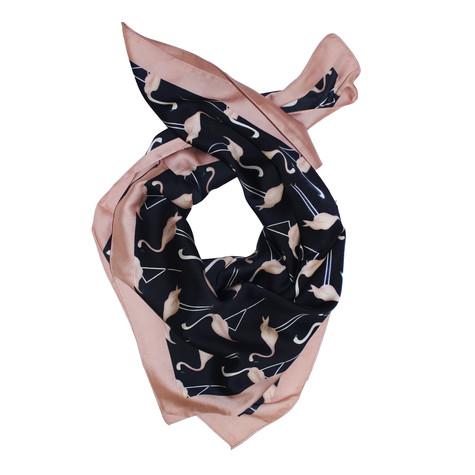 Best Angel Black Pink Flamingo Print Scarf