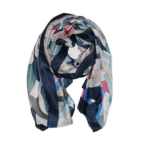 Best Angel Navy Multi Print Scarf