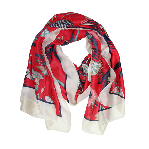 Best Angel Red & Navy Floral Scarf