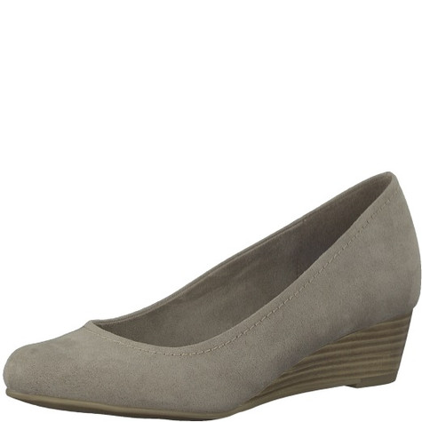 Marco Tozzi Taupe Low Wedge