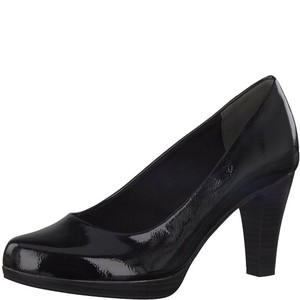 Marco Tozzi BLACK HIGH HEEL COURT SHOE
