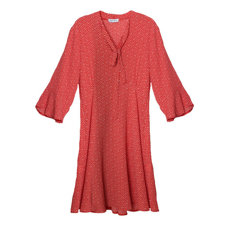 Zapara RED POLKA DOT BELL SLEEVE DRESS