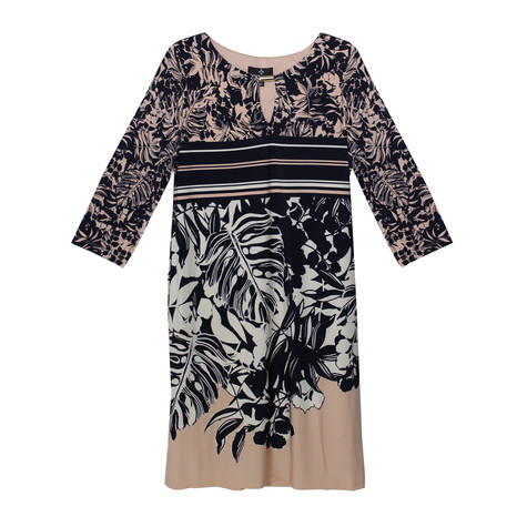 Ronni Nicole Ivory & Blush Stripe & Floral Print Dress