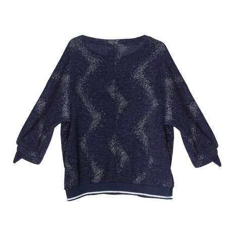 SophieB Navy Glitter Detail Round Neck Knit