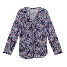 SophieB Red & Navy Floral Zip Neckline Detail Top