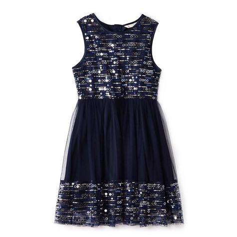 Yumi Girls navy sequin mesh skater dress