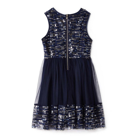 Yumi Girls navy sequin mesh skater dress