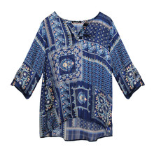 Twist Alex Navy Light Weight Floral Pattern Blouse