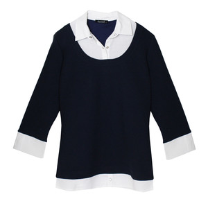 Twist Navy & White Shirt Insert  2 in 1 Knit