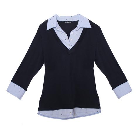 Twist Navy Stripe Shirt 2 in 1 Knit