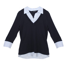 Twist Navy Sky Blue Pin Stripe 2 in 1 Knit