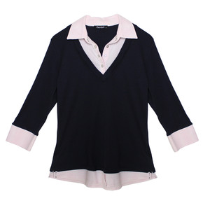 Twist Navy Rose Pink Stripe 2 in 1 Knit