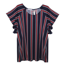 Zapara Navy, Red & White Stripe Top