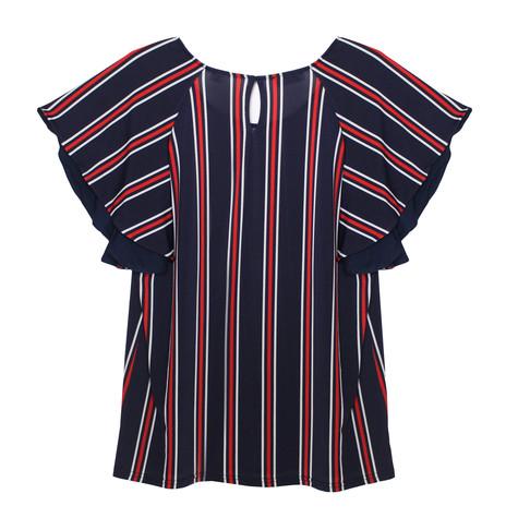 Zapara Navy, Red & White Stripe Top