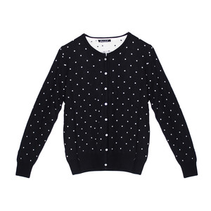 Twist White Polka Dot Navy Button Up Knit