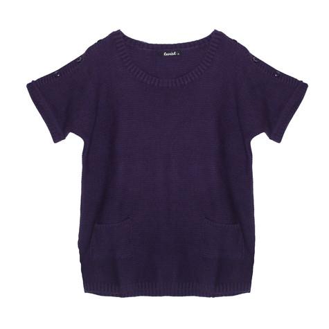 Twist Aubergine Loose Short Sleeve Knit
