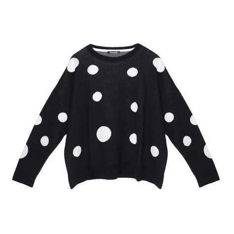 Twist Navy Large White Polka Dot Knit