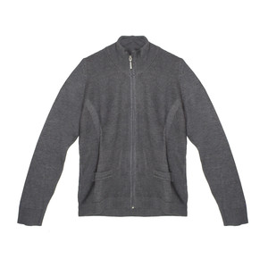 Twist Grey Zip Up Long Sleeve Knit