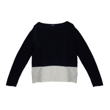 Twist Navy Round Neck Top with White Trim