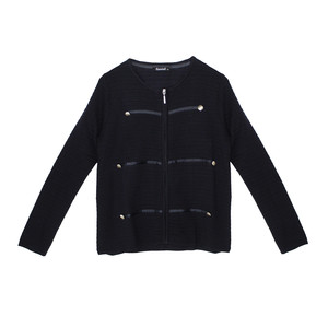Twist Navy Rib Zip Up Button Detail Knit